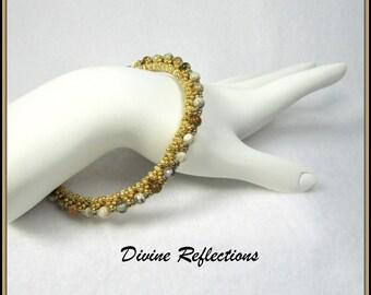 Bangle Gemstone Bracelet, Brown and Cream Bracelet,Jasper Gemstone Bracelet, Bead Woven Bangle Bracelet, Brown and Cream Bead Woven Bracelet