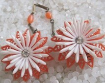 sweater guard vintage  sweater clip orange and white flower with  rhinestone center