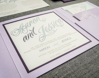 Modern Wedding Invitations, Purple Wedding Invitations, Eggplant, Lavender, Lilac, Blue, Sweeping Script - Pocketfold, 1 Layer, v2 - SAMPLE