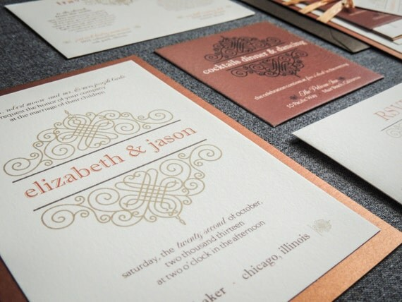Vintage Wedding Invitations, Scroll Invitations, Rustic Invitations,  Bronze and Gold, European Scroll - Flat Panel, 1 Layer, v1 - DEPOSIT