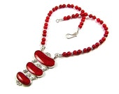 Red Coral & Sterling Silver Statement Necklace - N725