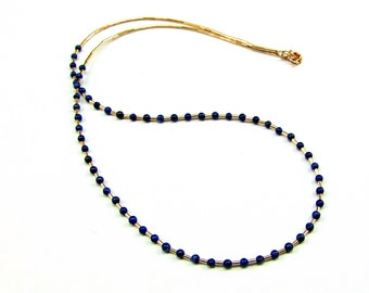 Tiny Lapis Lazuli Gold Fill Necklace - N738