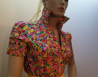 SCHRADER Sport Petites Bright Colorful Shirt Dress Button Down Yellow Green Red Purple Orange White RETRO Vintage Apparel Clothing Floral