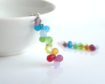 Rainbow Earrings - colorful long thin dangle w/ tiny shaded glass drops in ROYGBIV ombre spectrum on tiny silver hooks - After the Rain
