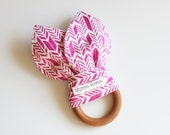 Natural Wooden Teething Ring Toy - Choose your Fabric!