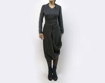 Skirt,culottes,grey skirt,long skirt,medium skirt,jersey skirt,asymmetric skirt,original skirt,autumn skirt,original design,casual  S16