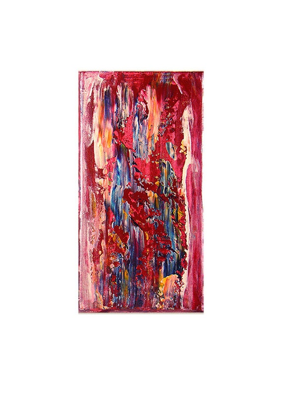 Mayfair , Original Modern Contemporary Art Textured Abstract Painting - Red - Blue - Pearl White - Yellow