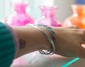 Bangle, Oxidized Sterling Silver Bangle Bracelet, Rustic Silver Bangle, Half Round Sterling Bangle Bracelet, Bohemian Boho Chic - Stacking
