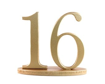 Gold Table Numbers for Vintage Weddings, Standing Wedding Table Numbers on Bases, Metallic, SET OF 1-20 (Item - NUM120)