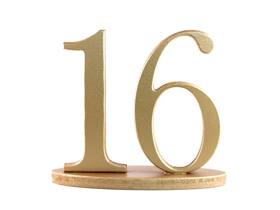 Table Numbers in Gold for Wedding Vintage Style Standing Wedding Table Numbers on Bases, Metallic, SET OF 1-20 Table Numbers (Item - NUM120)