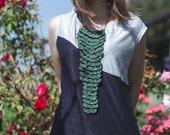 Crochet Long Jabot in Emerald Green