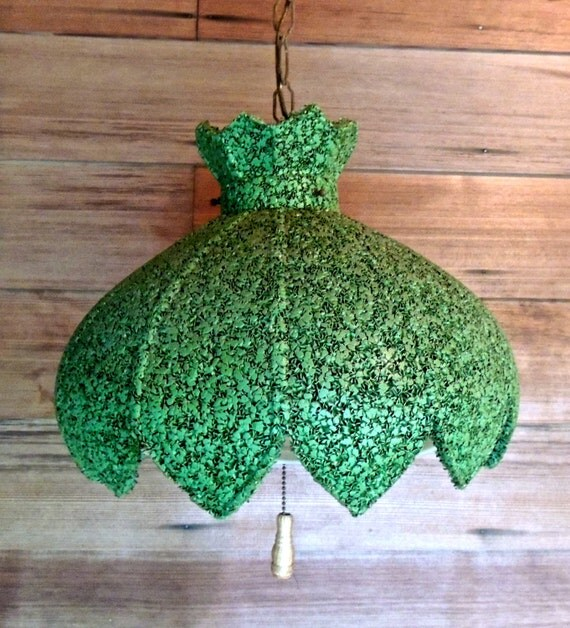 Mid Century Swag Lamp Chandelier 1950s 60s Green Mod By Mkmack