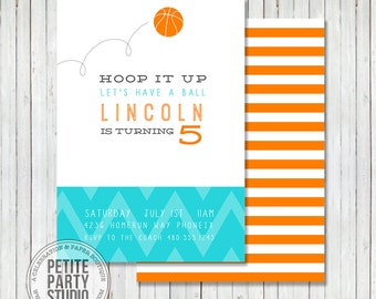 Basketball Birthday Printable Party Invitation - Birthday or Baby Shower - Petite Party Studio