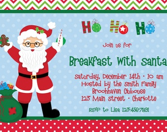 Christmas Party Invitation Breakfast with Santa Invitation Holiday Party  Invitation