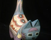 Painted CAT Carved Mexico with Traditional Indian Native American Designs
