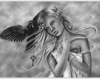 Protector of the heart Moonlight Twilight Girl Woman Raven Vintage Emo Art Print Glossy Zindy Nielsen