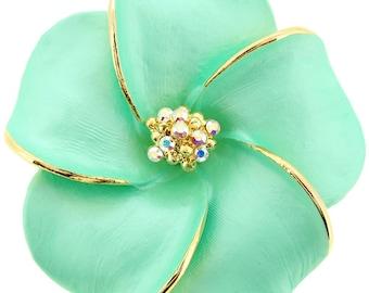 Small Green Hawaiian Plumeria Flower Swarovski Crystal Pin Brooch And Pendant 1010132