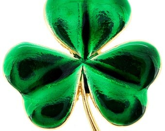 Green Lucky 3 Leaf Clover Flower Pin Brooch 1000722