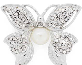 White Crystal Butterfly Pin Brooch 1003681