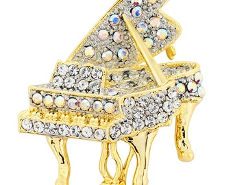 Golden Aurore Boreale Piano Music Crystal Pin Brooch 1012532