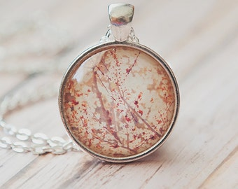 cherry blossom necklace, gift for her, cherry blossom tree photo pendant, pink, red, spring photo, silver necklace, nature jewelry