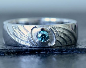 Mass Effect Game, Paragon, Renegade Inspired Engagement Ring, 14K Rhodium set with Blue Diamond Custom Made To Order