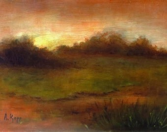 Sunrise oil painting 6 x 8 inches by Alexandra Kopp