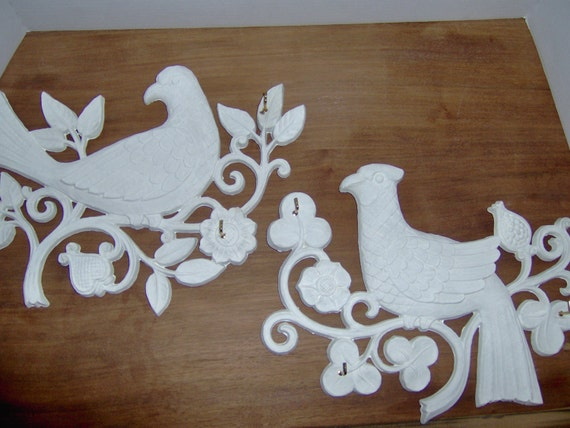 Jewelery Holder Cottage Chic  Wall Decor    Vintage Syroco Upcycled Bird Plaques by MaBelleChicBoutique