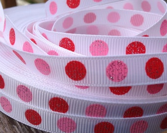 Pink and Red Dot Grosgrain Ribbon 3/8 Inch 9mm - 5 yards