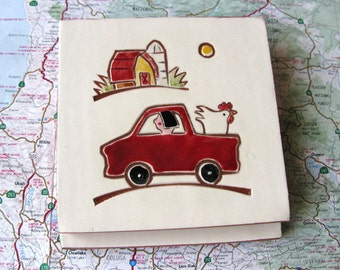 """Red Truck, Red Barn and White Chicken handmade ceramic tile, coaster or wall hanging 4"""" x 4"""""""