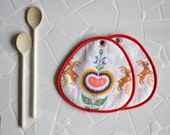nordic scandinavian kitchen pair of potholders - repurposed - christmas kitchen
