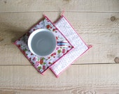 pink floral and polka dot mug rugs - pink trivets - set of 2x - hostess gift - shabby home decor - floral coasters