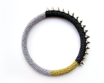 Metallic Spike Bangle, Rocker Chic Bangle, Black Silver Gold Color Block Bangle, Modern Design Bracelet