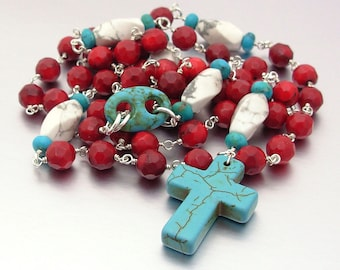 Sterling Silver Catholic Rosary with Red Coral, Howlite & Turquoise