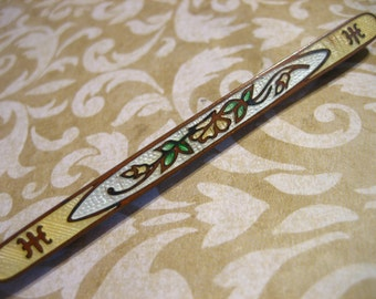 Antique Art Deco Guilloche Bar Pin Brooch
