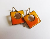 Tiny orange drop earrings Yellow orange enamel square dangles on gold wires Small colorful modern earrings Contemporary minimalist jewelry