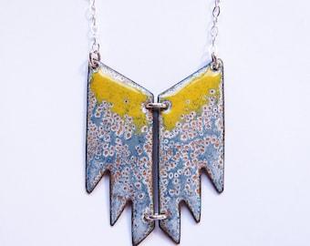 Big geometric yellow and gray enamel necklace Bohemian tribal jewelry Boho aztec pendant One of a kind artisan jewelry