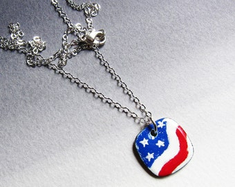 Red white and blue flag necklace Patriotic enamel jewelry Stars and stripes enameled pendant