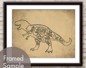 Tyrannosaurus Rex aka T-Rex, Dinosaur Butcher Diagram Series - Art Print (Featured in Cork Board with Black)  Buy 3 and get One Free