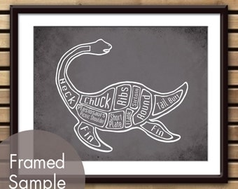 Plesiosaurus - Loch Ness Monster, Dinosaur Butcher Diagram Series - Art Print (Featured in Charcoal) (Buy 3 and get One Free)