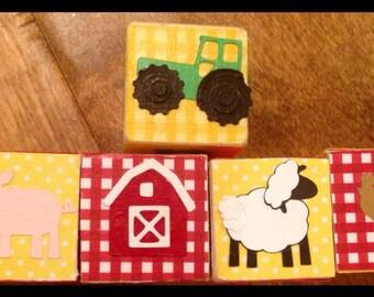 FARM ANIMAL Wood blocks. Personalized and customized, birthday gift, kids, childrens, custom design, newborn gifts, photo prop