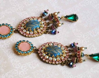pink sun chandeliers earrings bright colors with green and blue