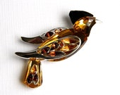 Vintage SWAROVSKI Sterling Yellow Crystal Bird Brooch - Paradise Collection Retired - Signed
