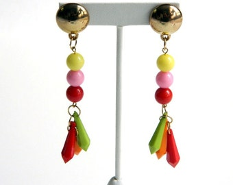 """Vintage Lucite Multi Colored Dangle Earrings - Yellow, Pink, Red, Green, Orange - Pierced Posts - 4"""" Long - Lightweight - Fruit Salad"""