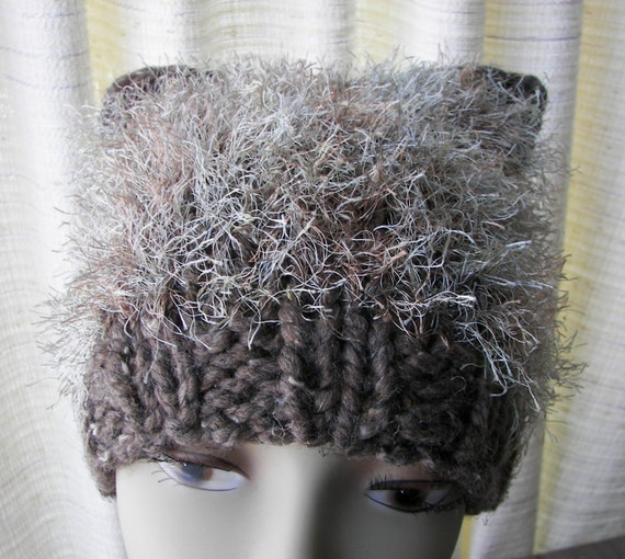 Hand Knit CAT Beanie Hat in Wood Barley Grey Brown Warm Soft Chunky