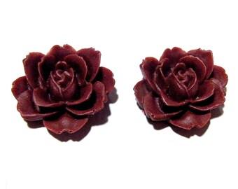 Dark Red Rose Earrings Steampunk Goth Post Wine Maroon Gothic Flower