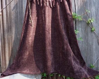 earth tones brown green scrap art  ooak festival faerie fun long pixie skirt