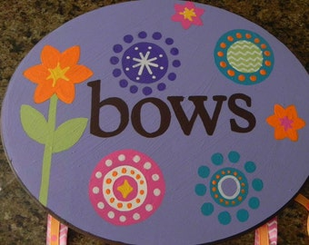 Hand Painted Bow Holder and Hair Accessory Organizer---Customization and Personalization Available