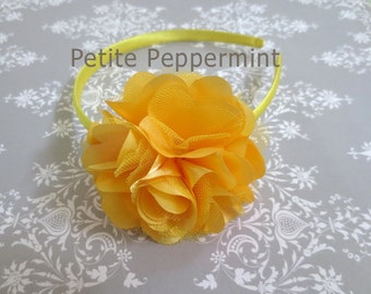 Baby headband, toddler headband, little girl headband, big girl headband, toddler hard headband - Yellow Flower Headband