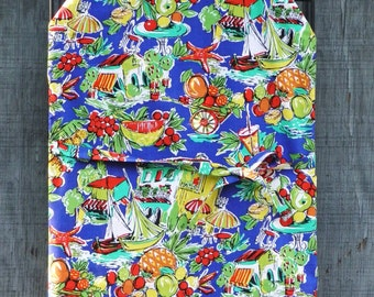 TROPICAL FRUITS & SAILBOATS  Apron, Chef or Barbeque Apron for Him or Her